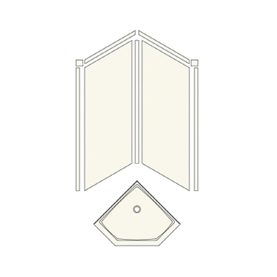 Transolid Decor Sand Castle Wall Fiberglass/Plastic Composite Floor Neo-angle 3-Piece Corner Shower Kit (Actual: 96-in x 42-in x 42-in)