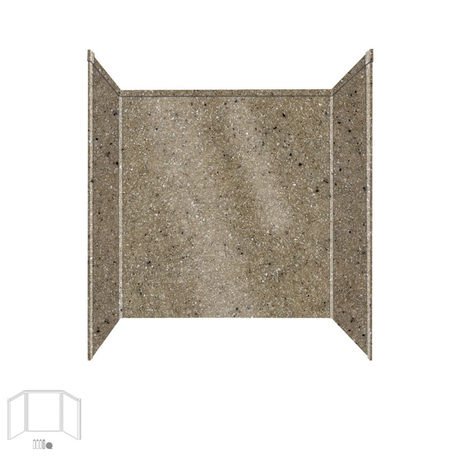 Transolid Decor Matrix Sand Shower Wall Surround Side and Back Panels (Common: 32-in x 60-in; Actual: 60-in x 32-in x 60-in)