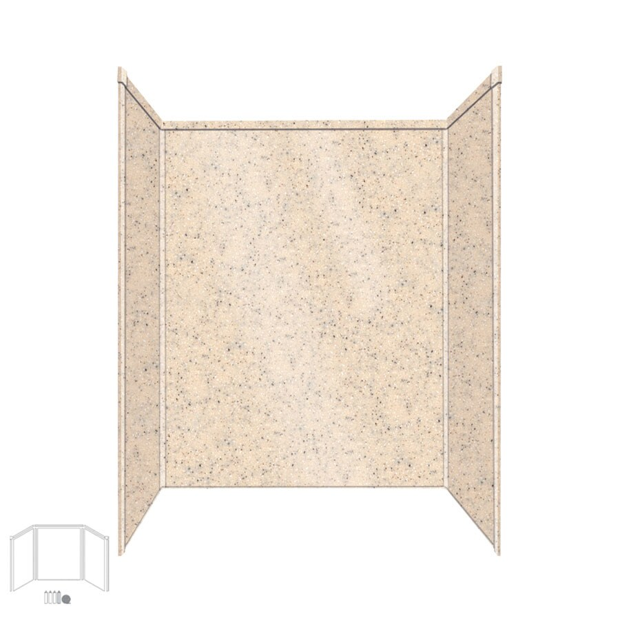 Transolid Decor Matrix Khaki/Sunset Sand Shower Wall Surround Side and Back Panels (Common: 32-in x 60-in; Actual: 72-in x 32-in x 60-in)