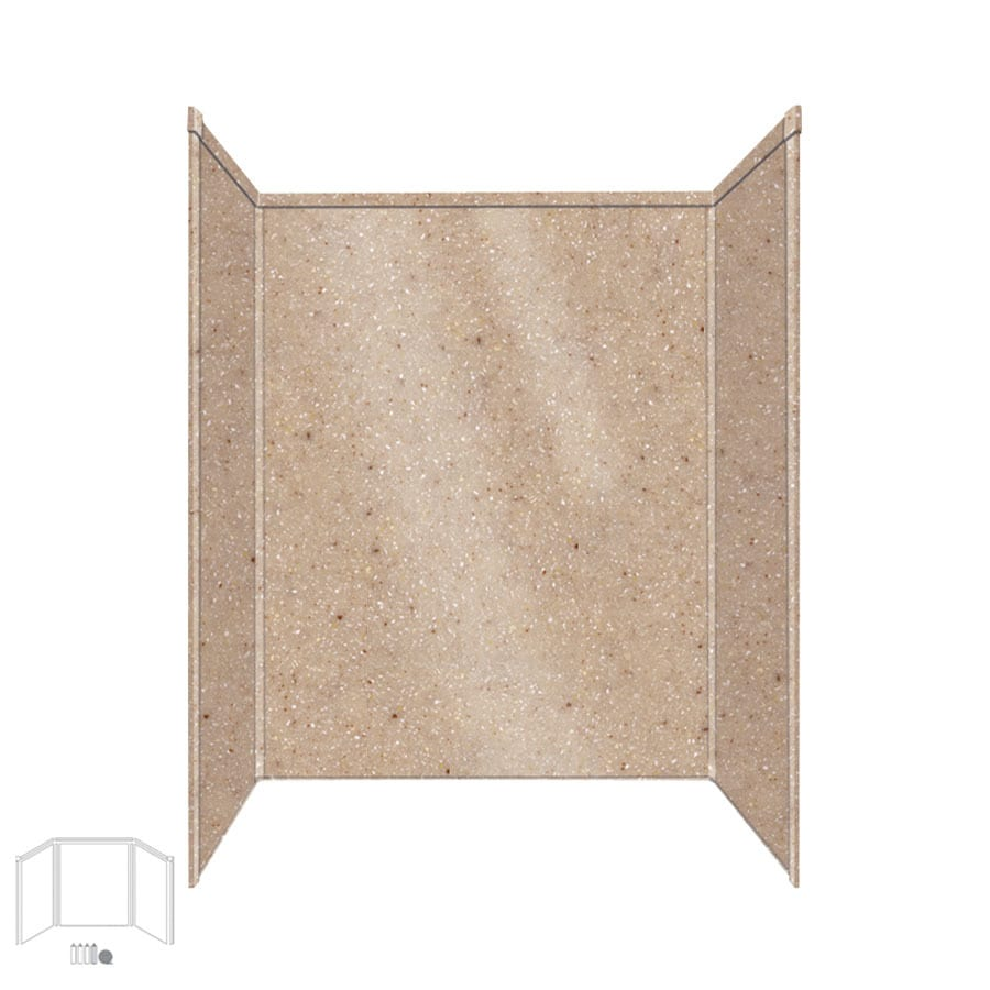 Transolid Decor Sand Castle Shower Wall Surround Corner Wall Kit (Common: 32-in x 60-in; Actual: 72-in x 32-in x 60-in)