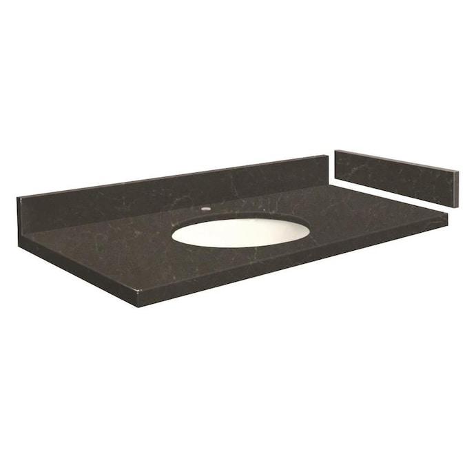 Transolid 43-in Black Carrara Quartz Bathroom Vanity Top ...