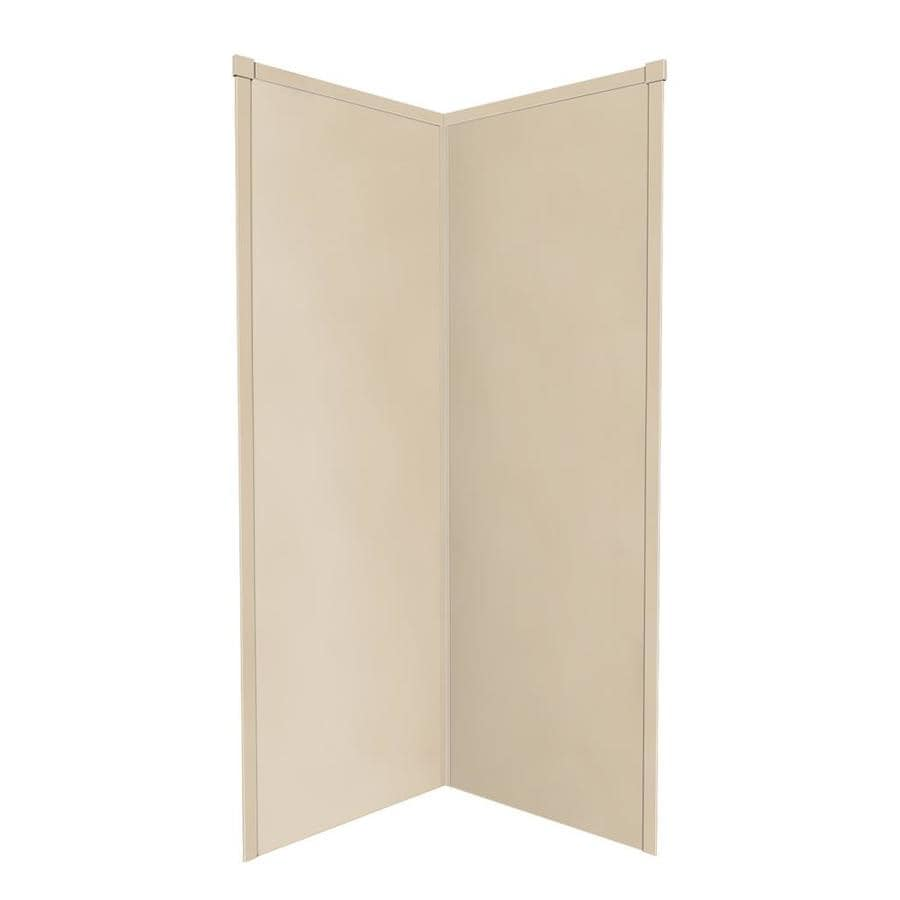 Transolid Decor Matrix Khaki Solid Surface Wall Floor Neo-angle 2-Piece Corner Shower Kit (Actual: 96-in x 36-in x 36-in)