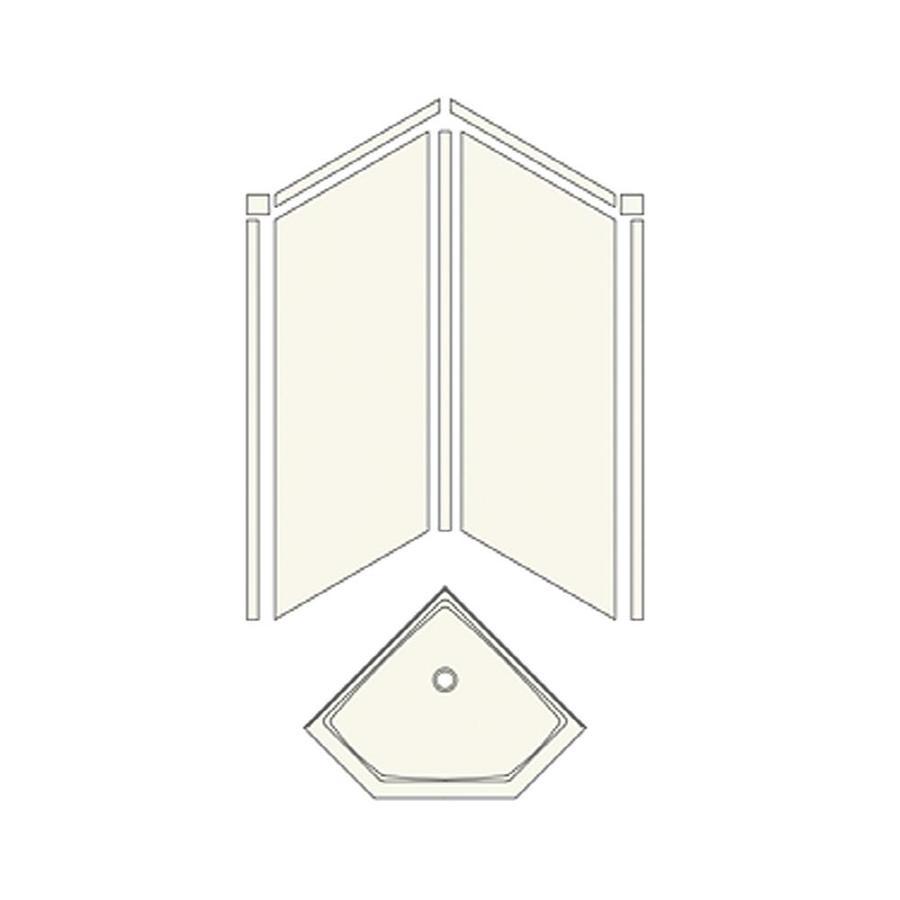 Transolid Decor Sand Castle Fiberglass/Plastic Composite Wall Floor Neo-angle 2-Piece Corner Shower Kit (Actual: 72-in x 36-in x 42-in)
