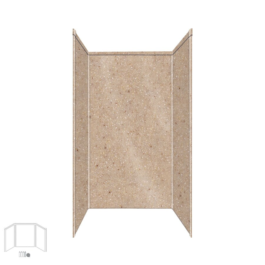 Transolid Decor Sand Castle Shower Wall Surround Corner Wall Kit (Common: 32-in x 32-in; Actual: 96-in x 32-in x 32-in)