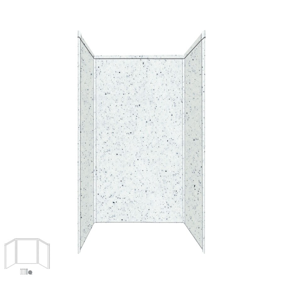 Transolid Decor Matrix White/Speckled White Shower Wall Surround Side and Back Panels (Common: 32-in x 32-in; Actual: 96-in x 32-in x 32-in)