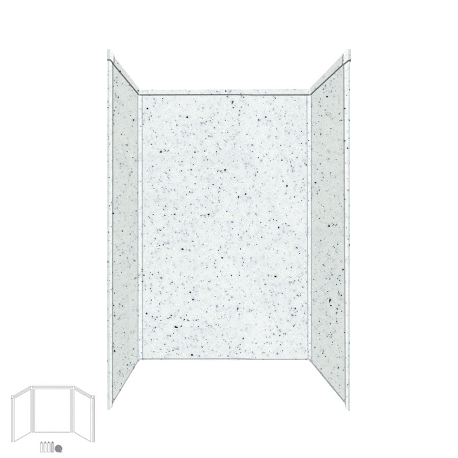 Transolid Decor Matrix White/Speckled White Shower Wall Surround Side and Back Panels (Common: 32-in x 48-in; Actual: 72-in x 32-in x 48-in)