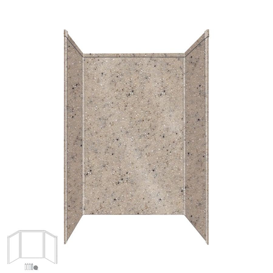 Transolid Decor Desert Earth Shower Wall Surround Side and Back Panels (Common: 32-in x 48-in; Actual: 96-in x 32-in x 48-in)
