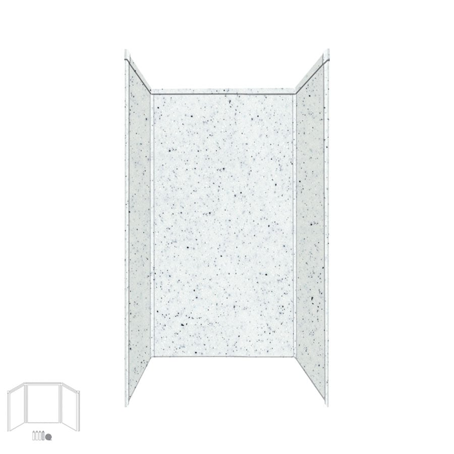 Transolid Decor Matrix White/Speckled White Shower Wall Surround Side and Back Panels (Common: 34-in x 42-in; Actual: 72-in x 34-in x 42-in)