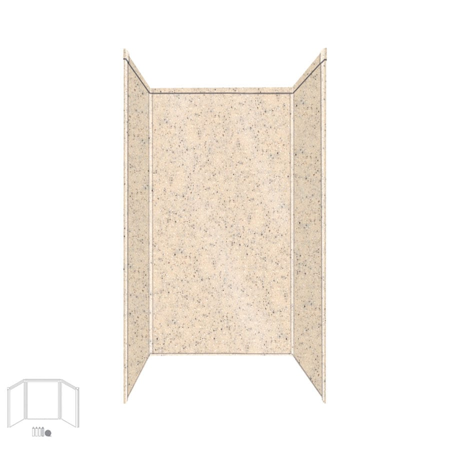 Transolid Decor Matrix Khaki/Sunset Sand Shower Wall Surround Side and Back Panels (Common: 34-in x 42-in; Actual: 72-in x 34-in x 42-in)