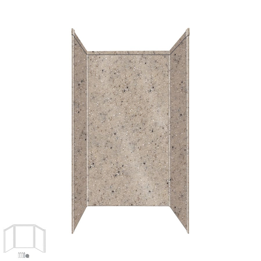 Transolid Decor Desert Earth Shower Wall Surround Side and Back Panels (Common: 34-in x 42-in; Actual: 96-in x 34-in x 42-in)