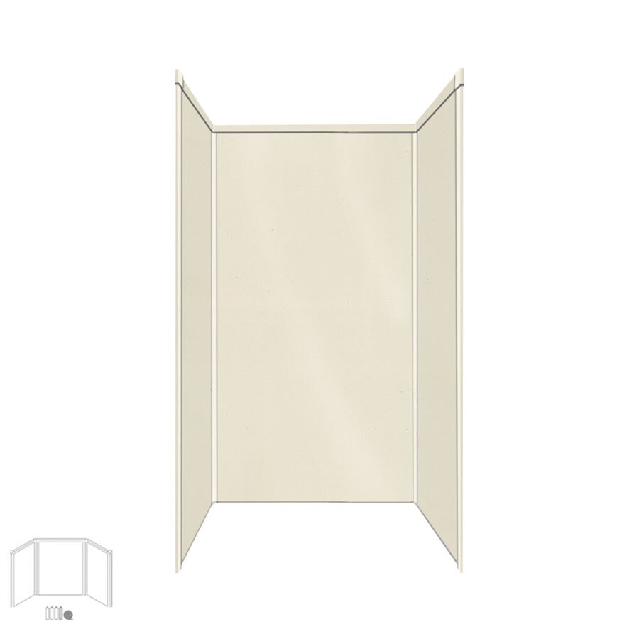 Transolid Decor Biscuit/Buff Shower Wall Surround Side and Back Panels (Common: 34-in x 42-in; Actual: 96-in x 34-in x 42-in)