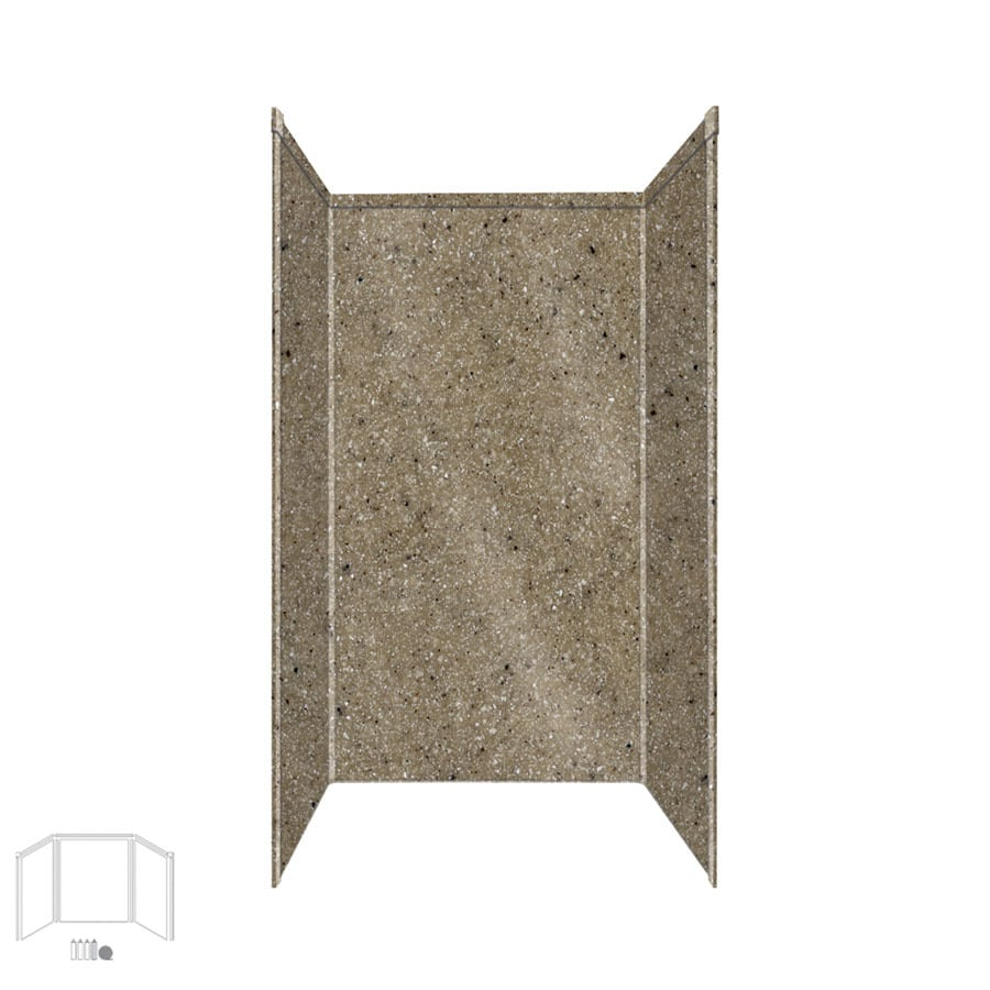 Transolid Decor Matrix Sand Shower Wall Surround Side and Back Panels (Common: 34-in x 42-in; Actual: 96-in x 34-in x 42-in)