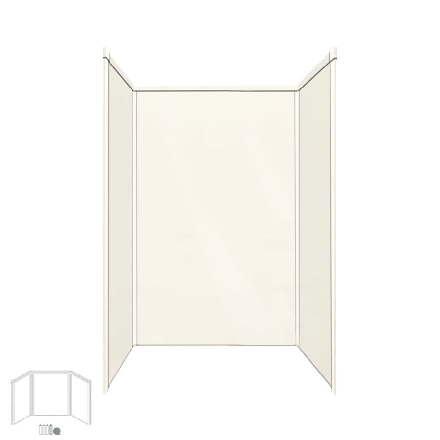 Transolid Decor Cameo/Cream Shower Wall Surround Side and Back Panels (Common: 34-in x 48-in; Actual: 72-in x 34-in x 48-in)