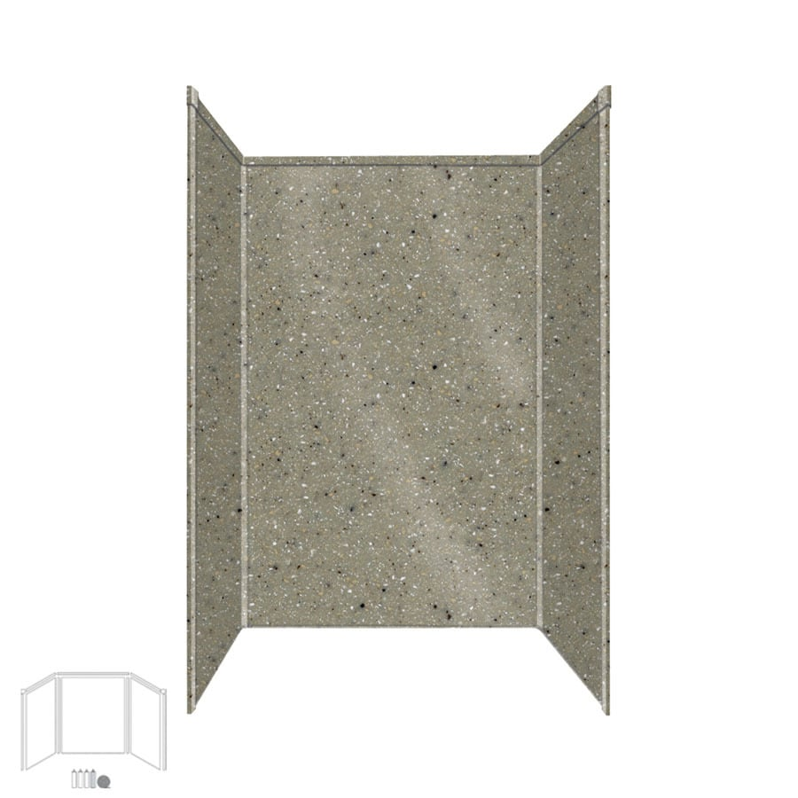 Transolid Decor Peppered Sage Shower Wall Surround Side and Back Panels (Common: 34-in x 48-in; Actual: 96-in x 34-in x 48-in)