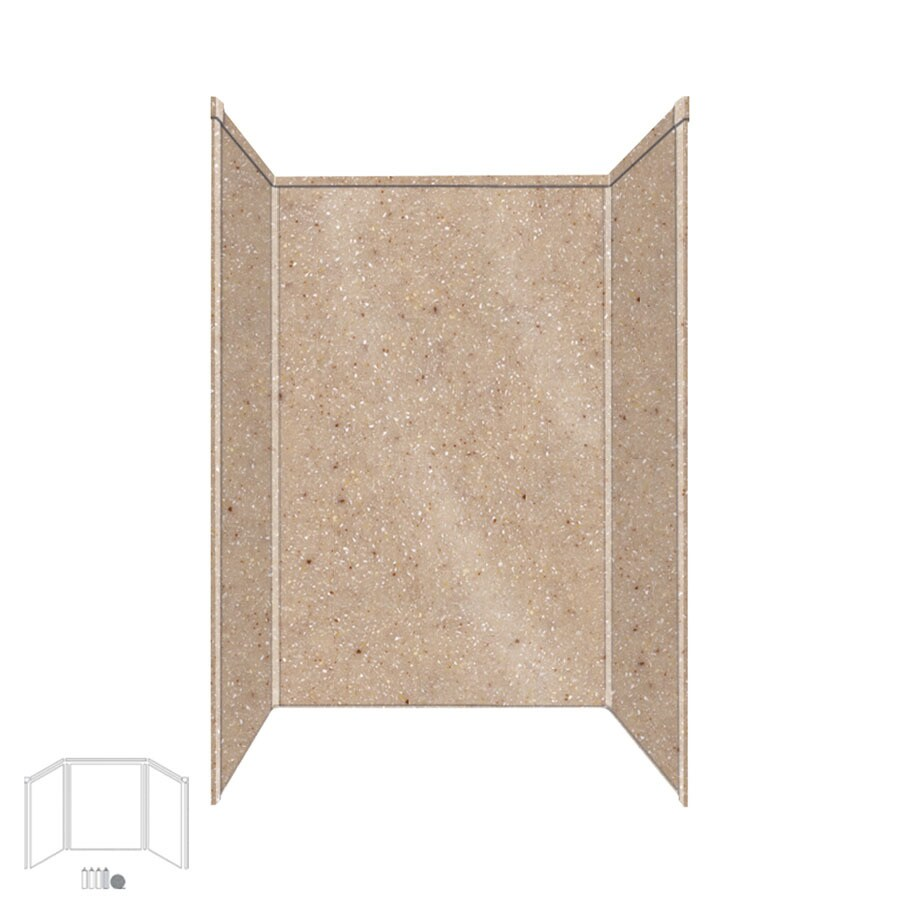 Transolid Decor Sand Castle Shower Wall Surround Side and Back Panels (Common: 34-in x 48-in; Actual: 96-in x 34-in x 48-in)