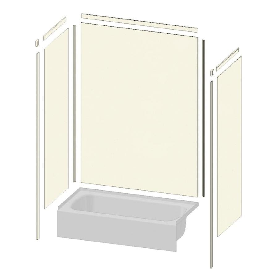 Transolid Decor Biscuit/Buff Shower Wall Surround Side and Back Panels (Common: 34-in x 48-in; Actual: 96-in x 34-in x 48-in)