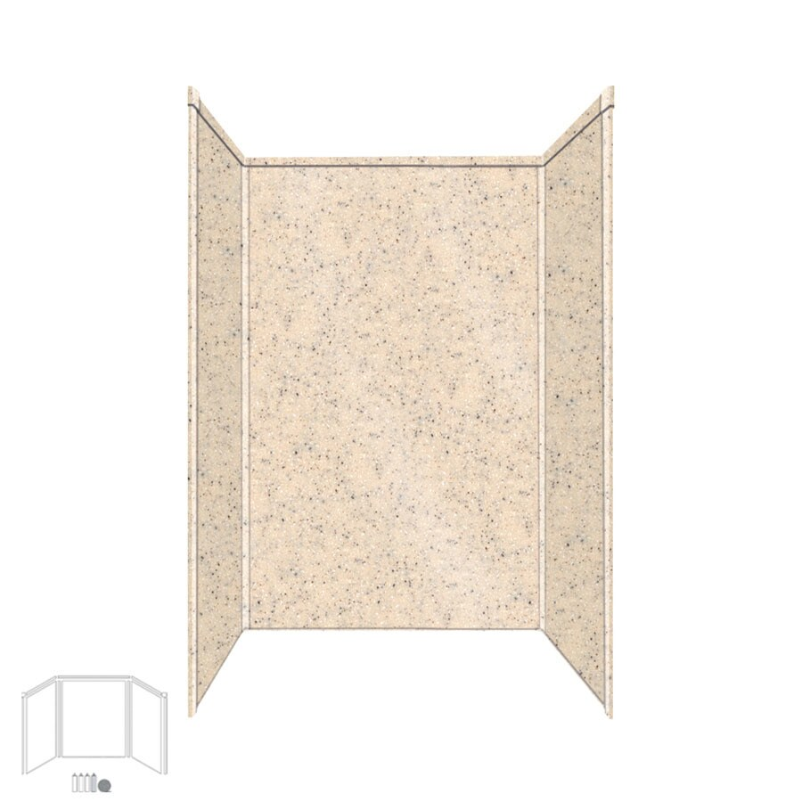 Transolid Decor Matrix Khaki/Sunset Sand Shower Wall Surround Side and Back Panels (Common: 34-in x 48-in; Actual: 96-in x 34-in x 48-in)
