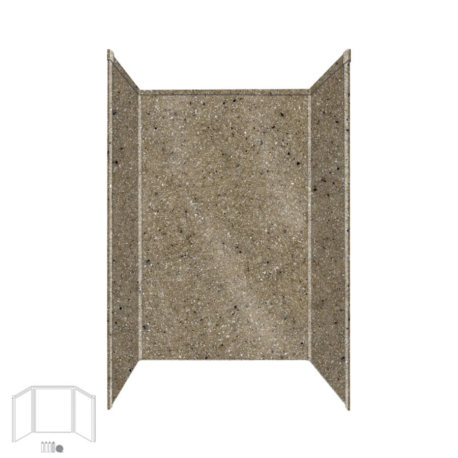 Transolid Decor Matrix Sand Shower Wall Surround Side and Back Panels (Common: 34-in x 48-in; Actual: 96-in x 34-in x 48-in)