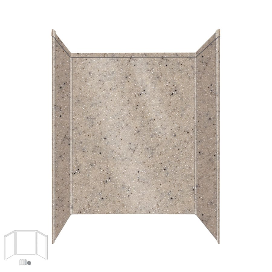 Transolid Decor Desert Earth Shower Wall Surround Side and Back Panels (Common: 34-in x 60-in; Actual: 96-in x 34-in x 60-in)