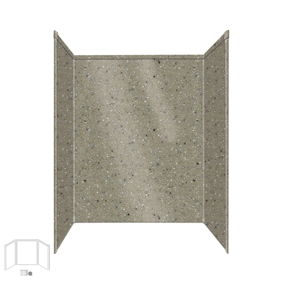 Transolid Decor Peppered Sage Shower Wall Surround Side and Back Panels (Common: 34-in x 60-in; Actual: 96-in x 34-in x 60-in)