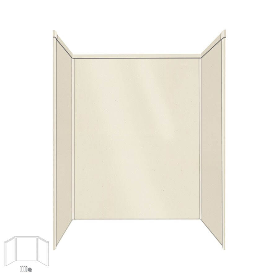 Transolid Decor Biscuit/Buff Shower Wall Surround Side and Back Panels (Common: 34-in x 60-in; Actual: 96-in x 34-in x 60-in)