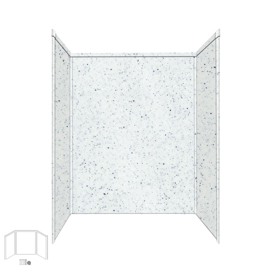 Transolid Decor Matrix White/Speckled White Shower Wall Surround Side and Back Panels (Common: 34-in x 60-in; Actual: 96-in x 34-in x 60-in)