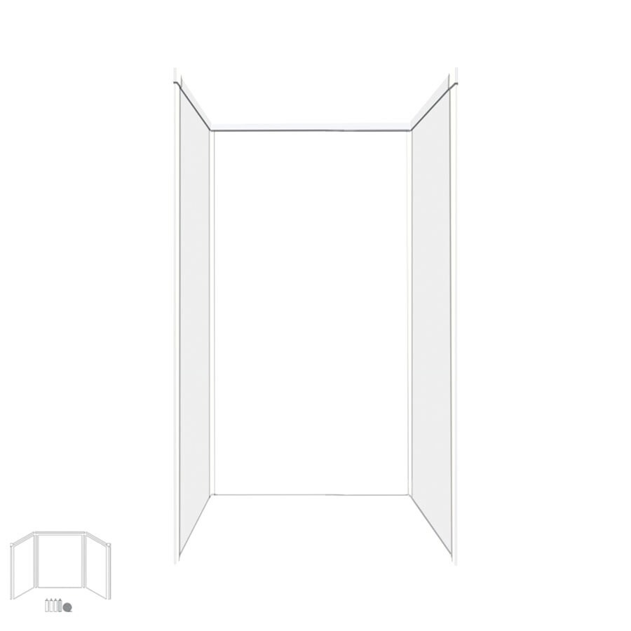 Transolid Decor White/Snow Shower Wall Surround Side and Back Panels (Common: 36-in x 36-in; Actual: 72-in x 36-in x 36-in)