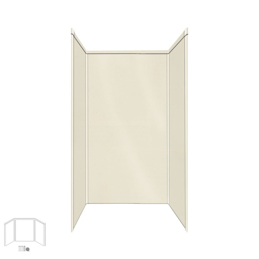Transolid Decor Biscuit/Buff Shower Wall Surround Side and Back Panels (Common: 36-in x 36-in; Actual: 72-in x 36-in x 36-in)