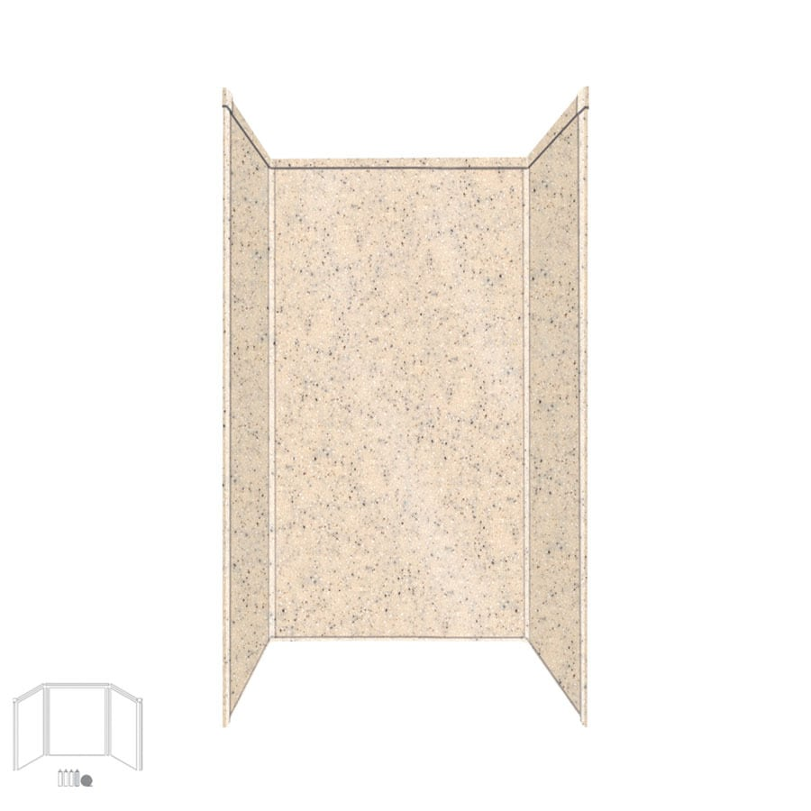Transolid Decor Matrix Khaki/Sunset Sand Shower Wall Surround Side and Back Panels (Common: 36-in x 36-in; Actual: 72-in x 36-in x 36-in)