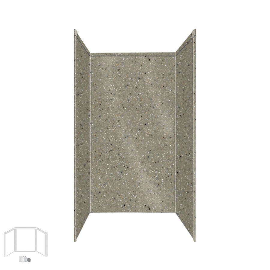 Transolid Decor Peppered Sage Shower Wall Surround Side and Back Panels (Common: 36-in x 36-in; Actual: 96-in x 36-in x 36-in)