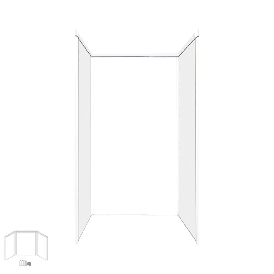Transolid Decor White/Snow Shower Wall Surround Side and Back Panels (Common: 36-in x 36-in; Actual: 96-in x 36-in x 36-in)