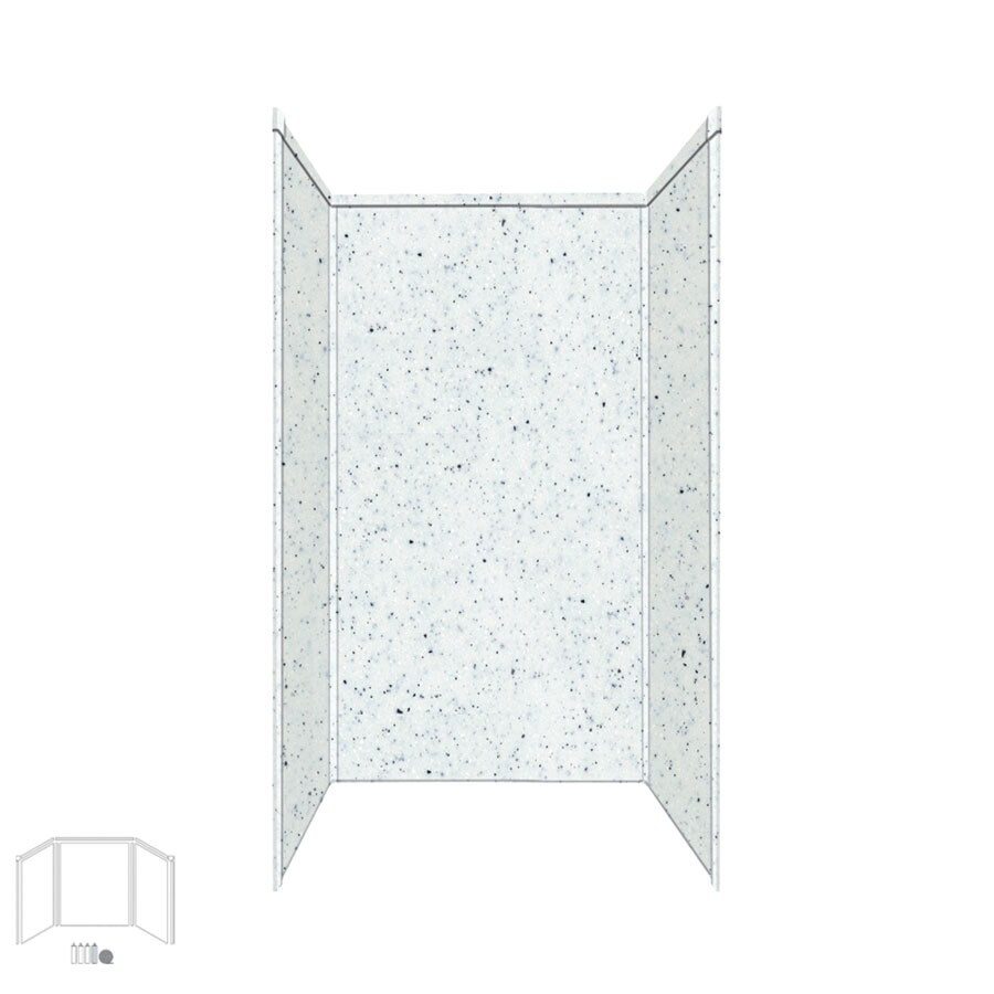 Transolid Decor Matrix White/Speckled White Shower Wall Surround Side and Back Panels (Common: 36-in x 36-in; Actual: 96-in x 36-in x 36-in)