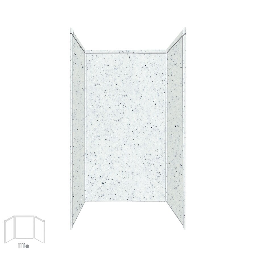 Transolid Decor Matrix White Shower Wall Surround Corner Wall Kit (Common: 42-in x 42-in; Actual: 72-in x 42-in x 42-in)