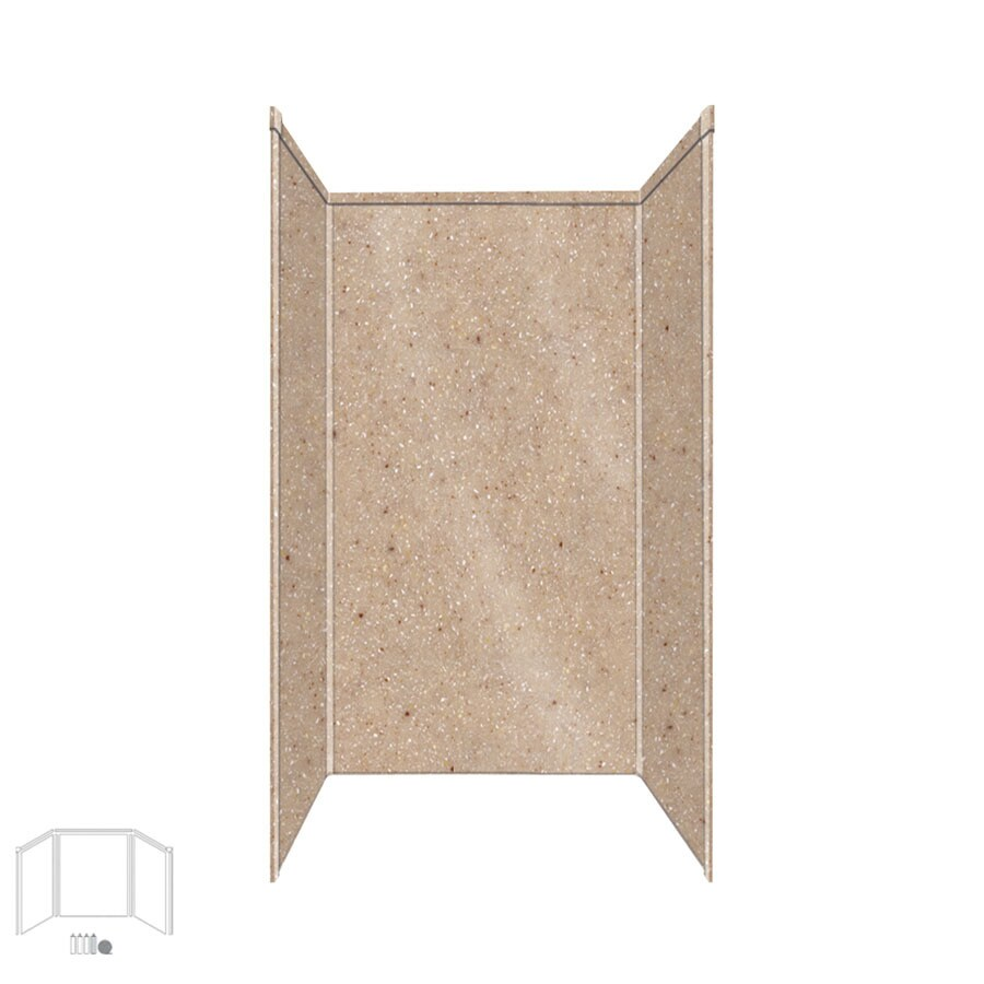 Transolid Decor Sand Castle Shower Wall Surround Corner Wall Kit (Common: 42-in x 42-in; Actual: 96-in x 42-in x 42-in)