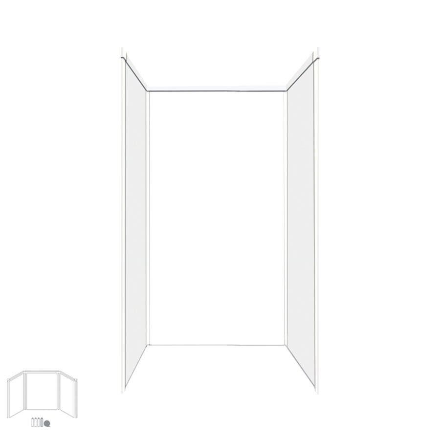 Transolid Decor White Shower Wall Surround Corner Wall Kit (Common: 42-in x 42-in; Actual: 96-in x 42-in x 42-in)