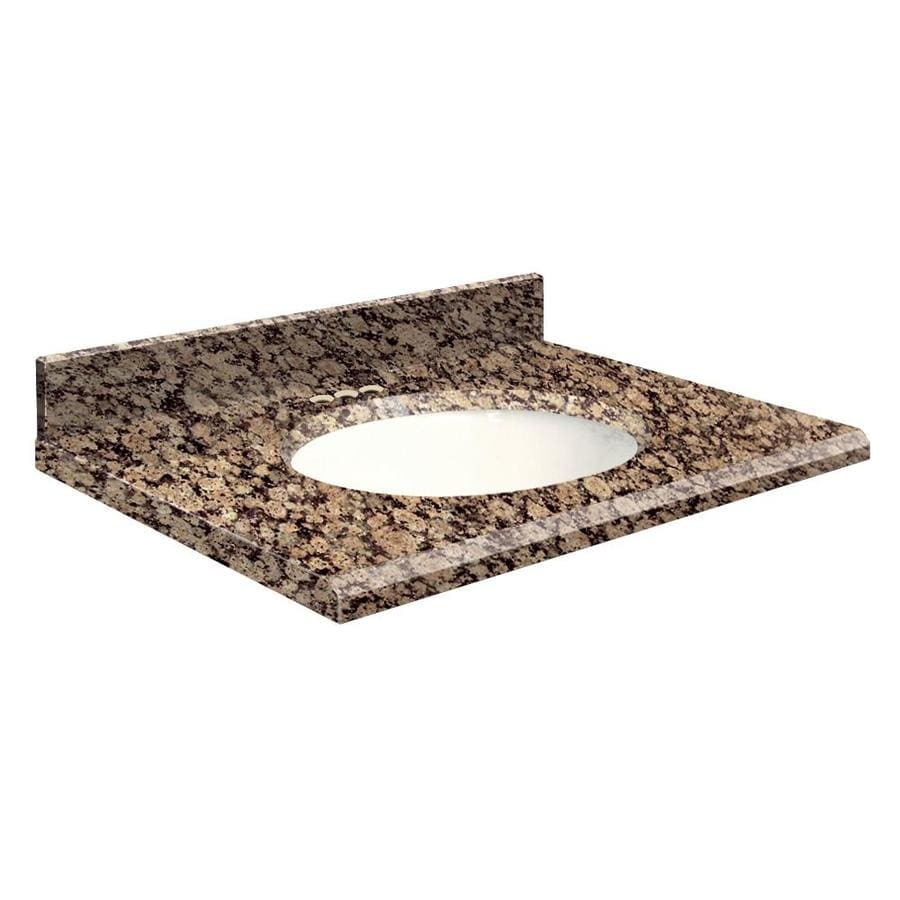 Transolid Baltic Brown Granite Undermount Single Sink Bathroom Vanity Top (Common: 25-in x 19-in; Actual: 25-in x 19-in)