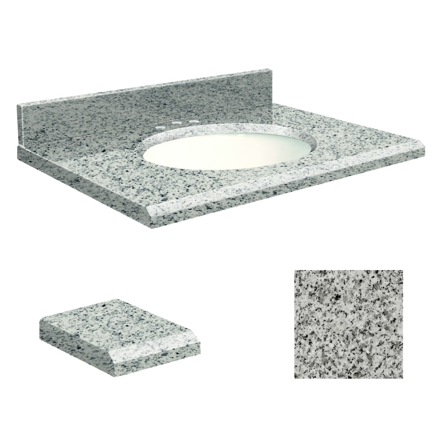 Transolid Rosselin White Granite Undermount Single Sink Bathroom Vanity Top (Common: 25-in x 19-in; Actual: 25-in x 19-in)