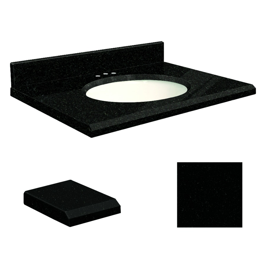 Transolid Absolute Black Granite Undermount Single Sink Bathroom Vanity Top (Common: 25-in x 19-in; Actual: 25-in x 19-in)