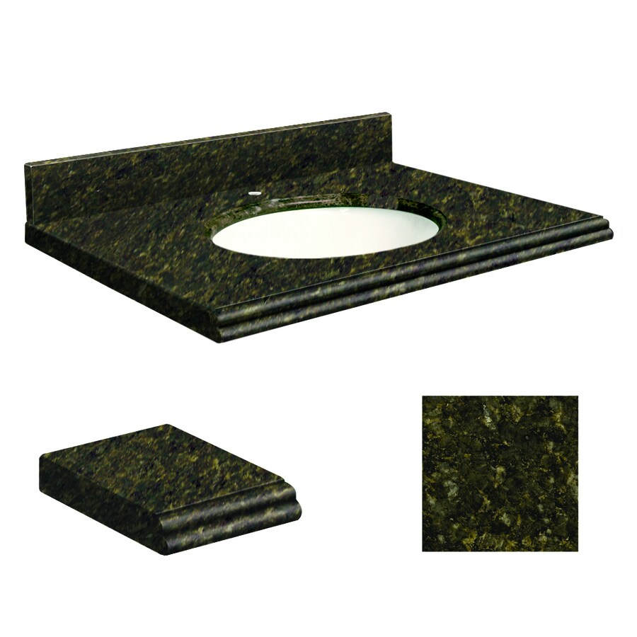 Transolid Uba Verde  Granite Undermount Single Sink Bathroom Vanity Top (Common: 25-in x 19-in; Actual: 25-in x 19-in)