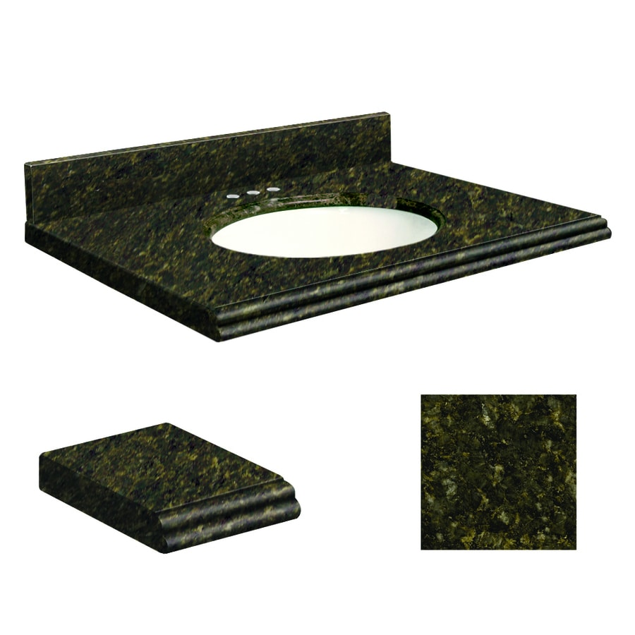 Transolid Uba Verde Granite Undermount Single Sink Bathroom Vanity Top (Common: 25-in x 19-in; Actual: 25-in x 19-in)