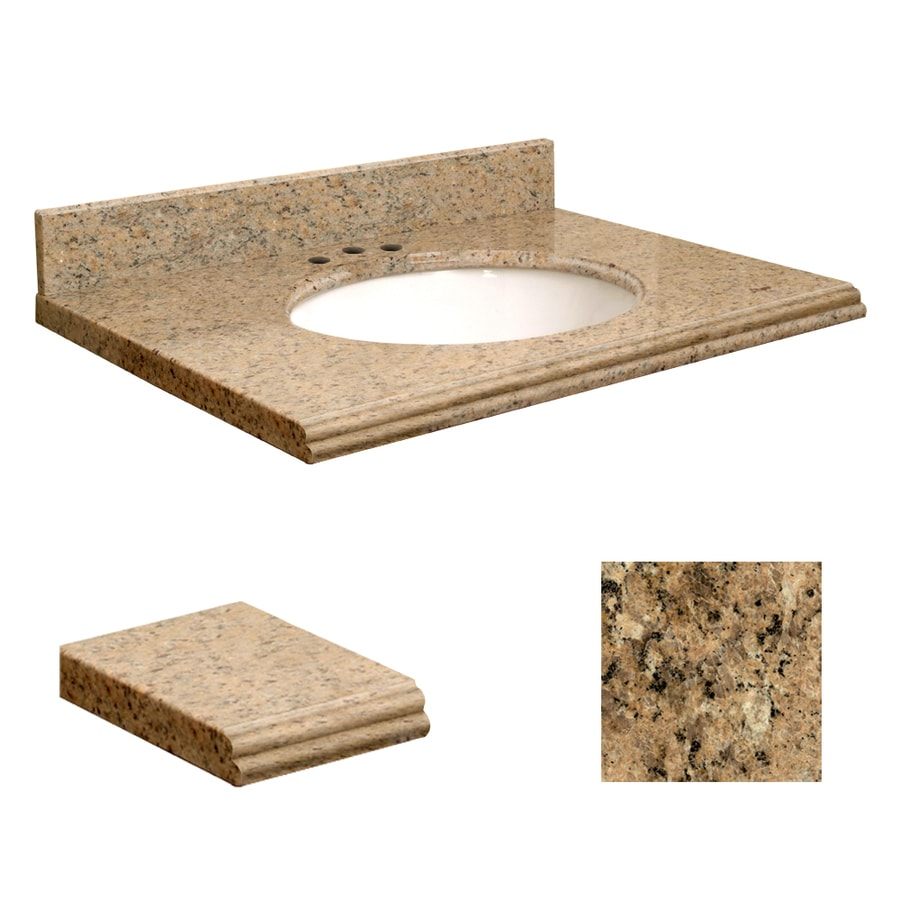 Transolid Giallo Veneziano Granite Undermount Single Sink Bathroom Vanity Top (Common: 25-in x 19-in; Actual: 25-in x 19-in)