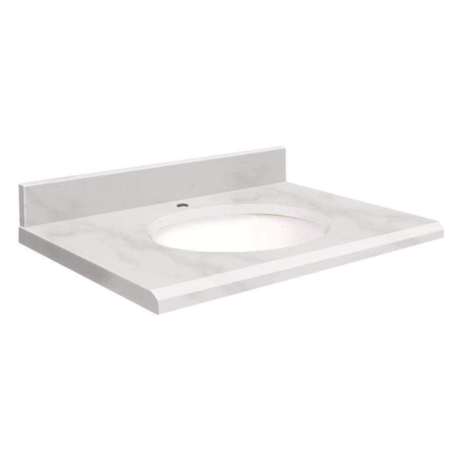 shop transolid white marble natural marble undermount single sink bathroom vanity top common