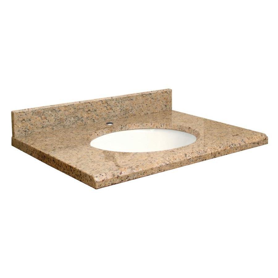 Transolid Giallo Veneziano Granite Undermount Single Sink Bathroom Vanity Top (Common: 25-in x 22-in; Actual: 25-in x 22-in)
