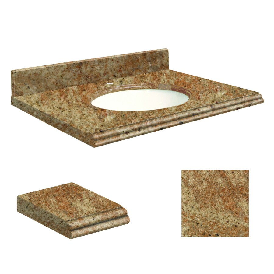 Transolid India Gold Granite Undermount Single Sink Bathroom Vanity Top (Common: 25-in x 22-in; Actual: 25-in x 22-in)