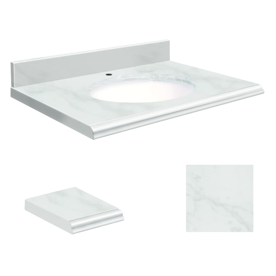 Transolid White Natural Marble Undermount Single Sink Bathroom Vanity Top (Common: 25-in x 22-in; Actual: 25-in x 22-in)
