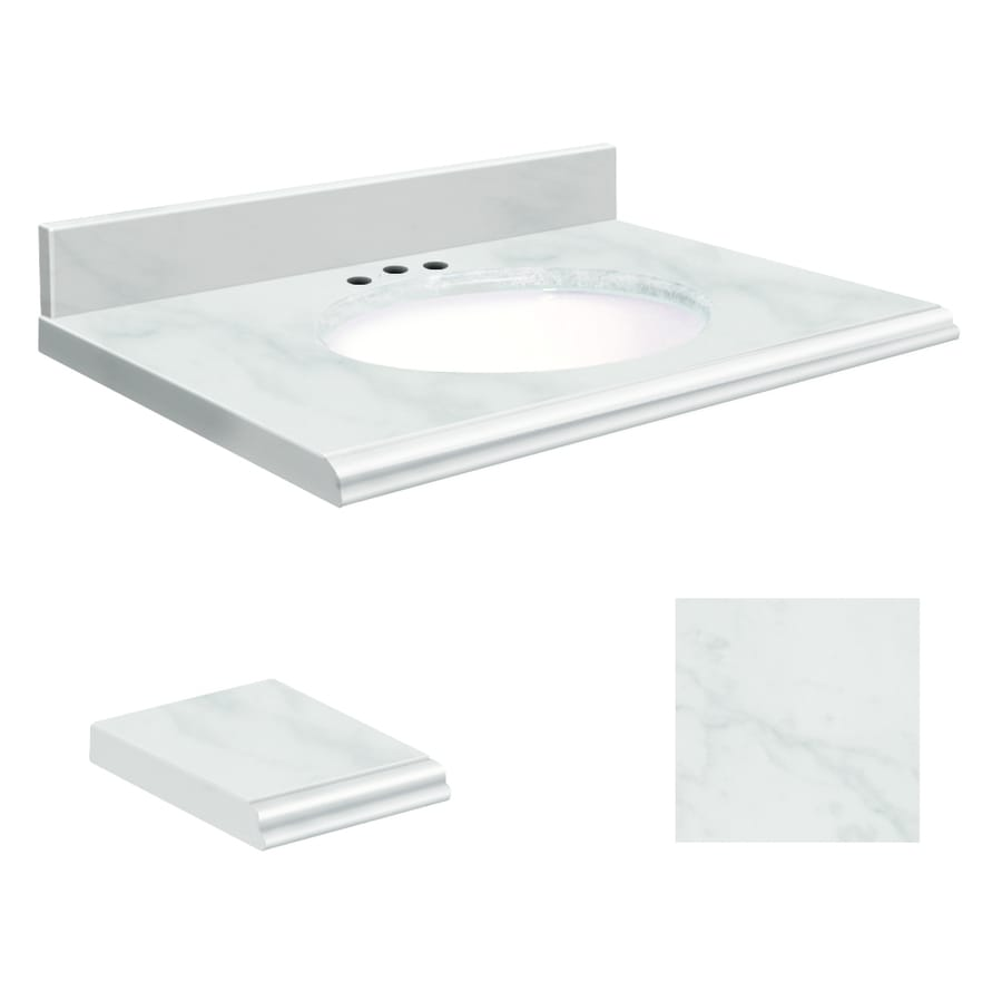 Transolid White Marble Natural Marble Undermount Single Sink Bathroom Vanity Top (Common: 25-in x 22-in; Actual: 25-in x 22-in)