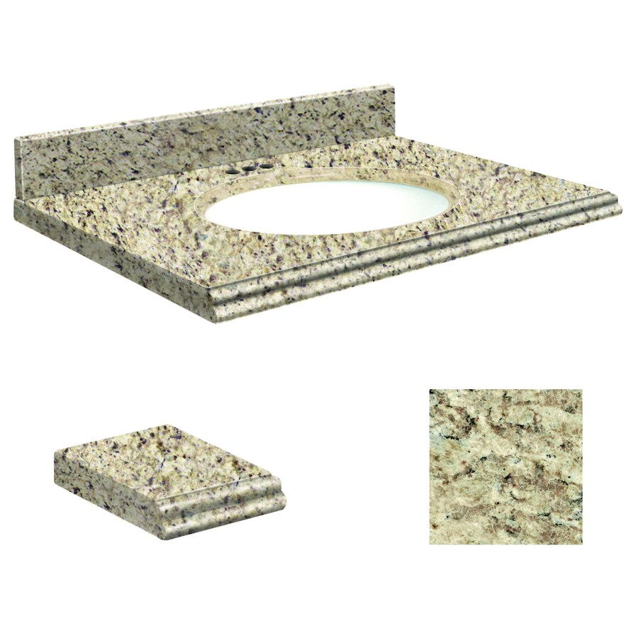 Transolid Giallo Ornamental Granite Undermount Single Sink Bathroom Vanity Top (Common: 25-in x 22-in; Actual: 25-in x 22-in)