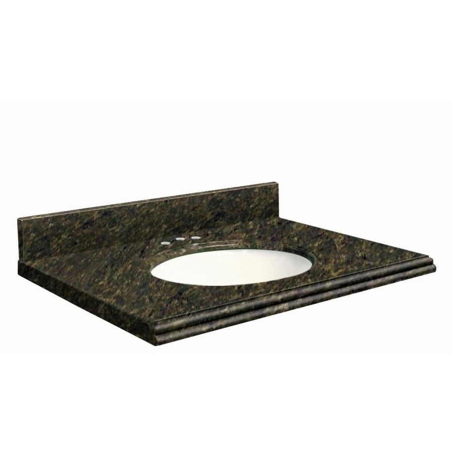 Transolid Uba Verde Granite Undermount Single Sink Bathroom Vanity Top (Common: 31-in x 22-in; Actual: 31-in x 22-in)