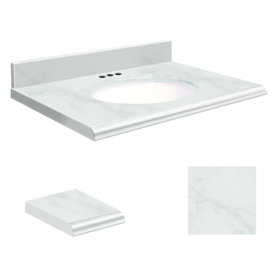 Transolid White Natural Marble Undermount Single Sink Bathroom Vanity Top (Common: 31-in x 22-in; Actual: 31-in x 22-in)