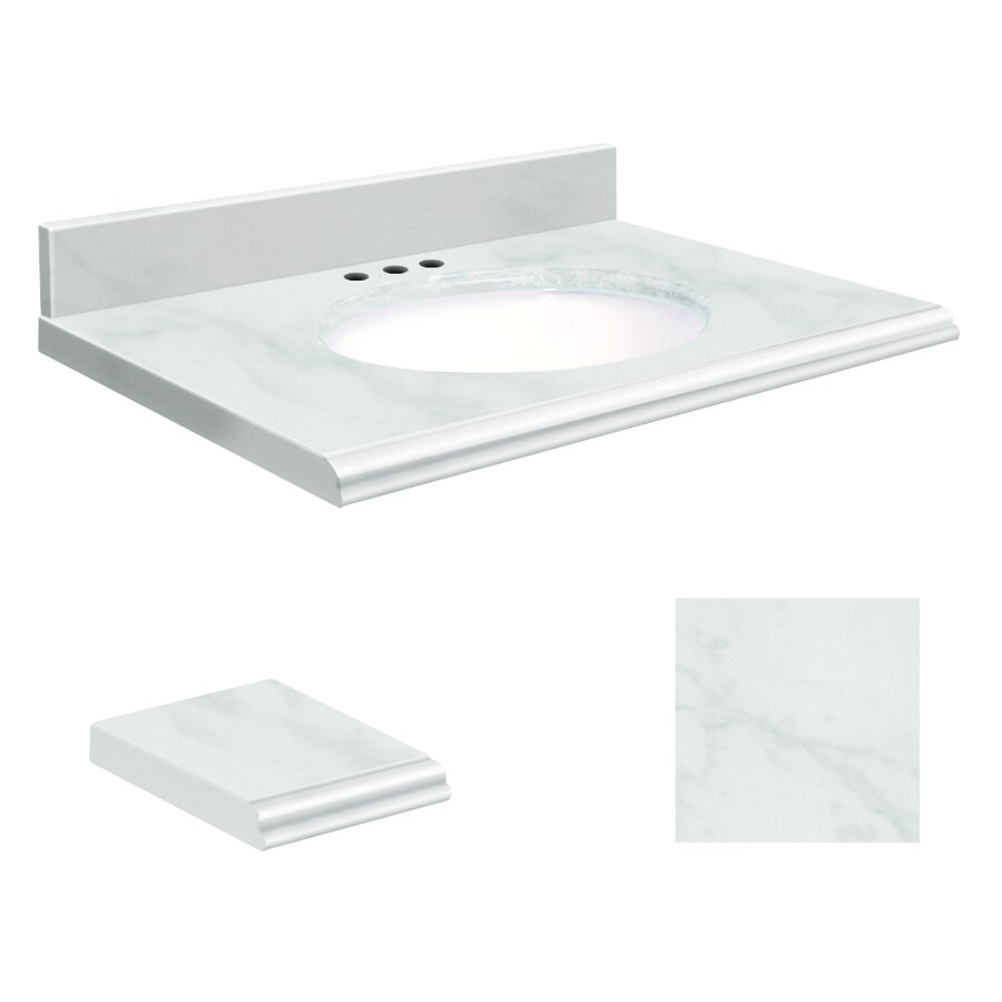 Transolid White Natural Marble Undermount Single Sink Bathroom Vanity Top Common 31 In X 22 Actual
